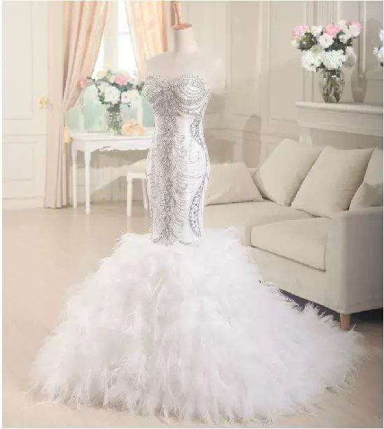 Luxury Ostrich Feather Organza Mermaid Wedding Dress 2017 Court Train Bridal Gown