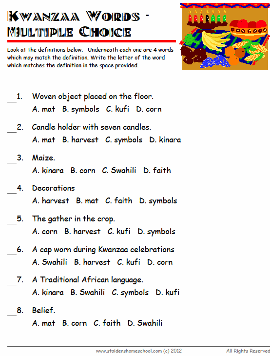Free Kwanzaa Vocabulary Worksheets for Grades 1 - 3 | 1st ...