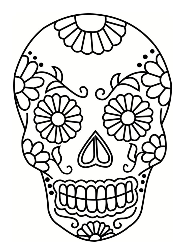 Photo of Mexican skull coloring page: 20 drawings to print