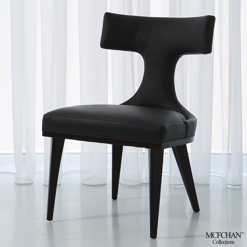 Anvil Black Leather Dining Chair   Global Views
