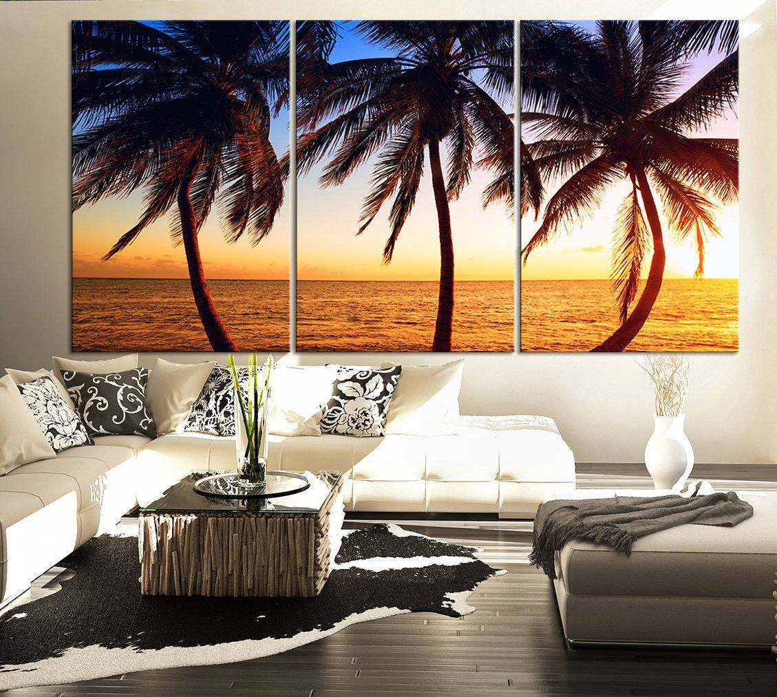 Large Wall Art Palms And Sunset On The Beach Canvas Print