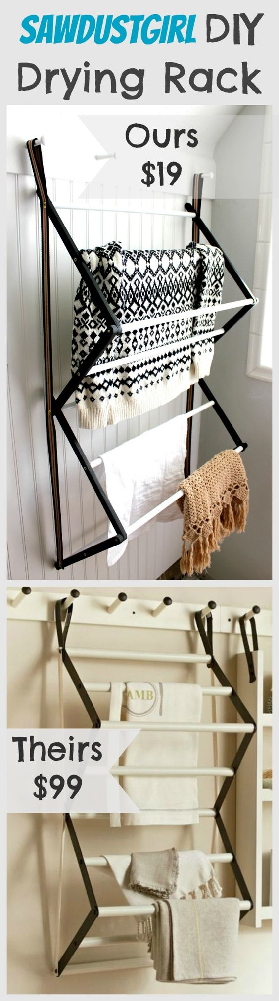 Hanging drying rack sawdust girl laundry and barn