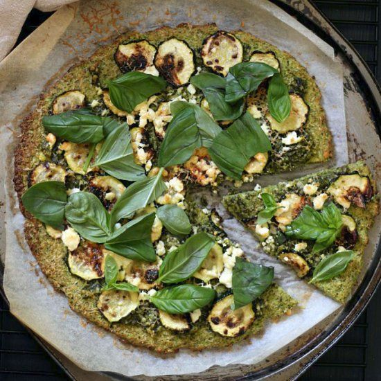 The most delicious pesto pizza - you'd never guess it's made nearly entirely of veggies!