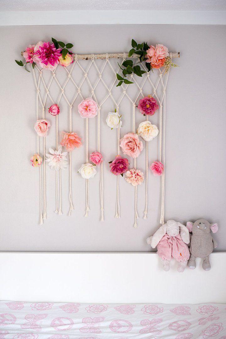 Photo of Makramee-Blume Wandbehang Babyzimmer Baby Kinderzimmer Wanddekoration