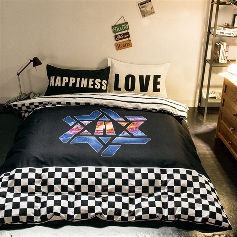 Attractive Modern Design Super Cool Bedding Sets Kids/Adult Boys White And Black  Plaids/Stripes Quilt Cover Bed Sheet Pillowcase Queen/Full