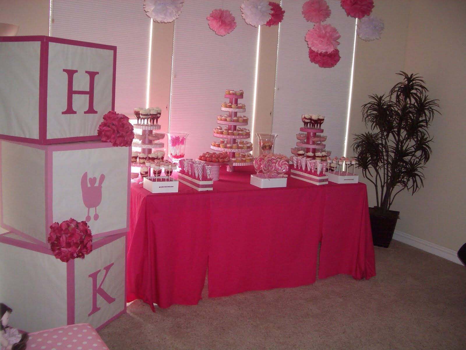 Pink baby shower Love the blocks wrap cardboard boxes w