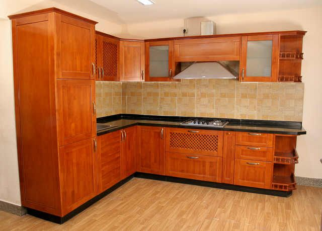 Modular Kitchen With Rubber Wood Shutter