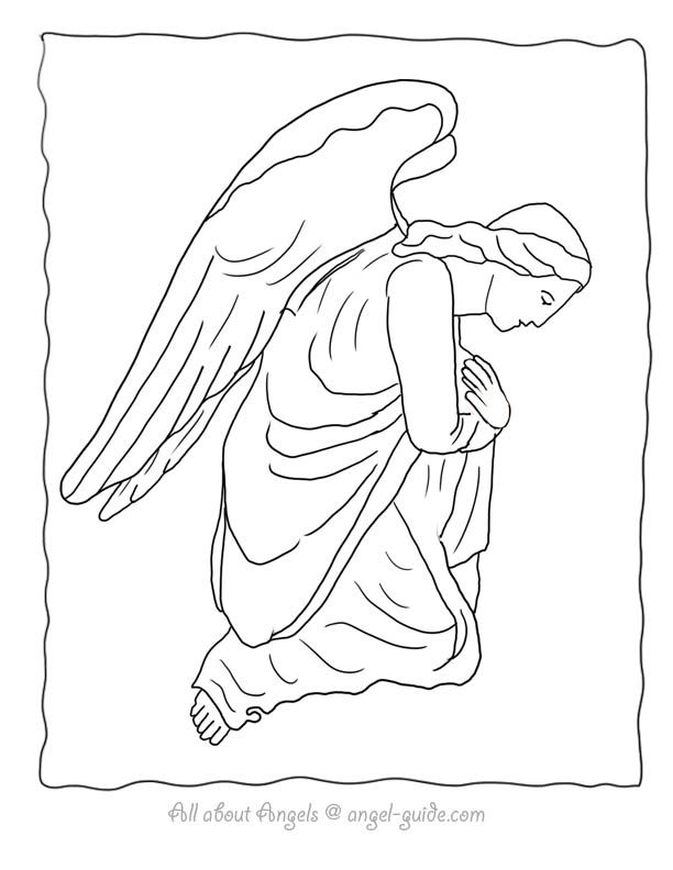 Free Angel Coloring Pages, Angel Drawings to Print from our Black ...
