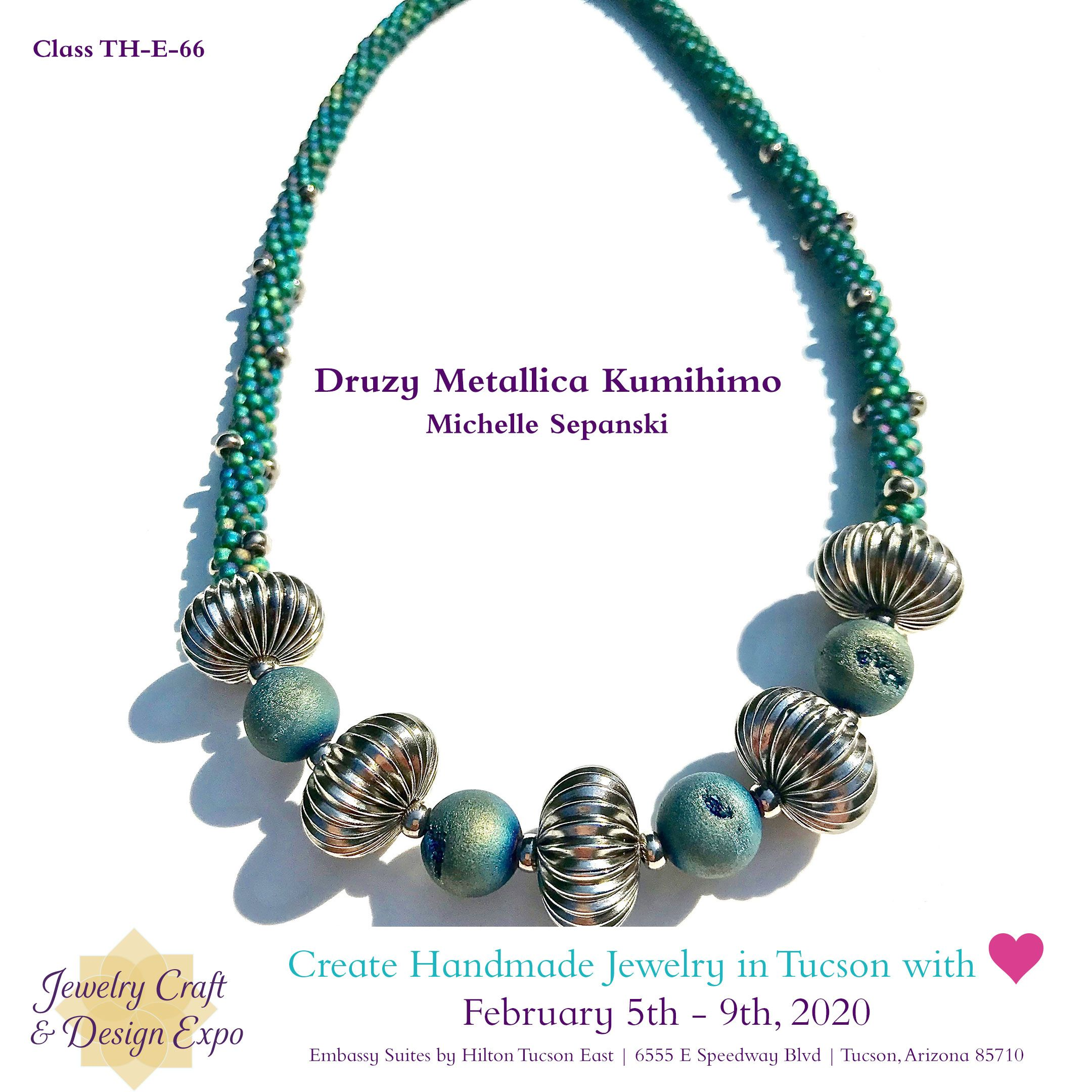 Druzy Metallica Kumihimo Create a gorgeous kumihimo Kongo Gumi necklace with popular druzy stones and corrugated metal beads And in the process you will learn how to use...