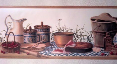 Wallpaper Wall Border   Country Kitchen Canisters New