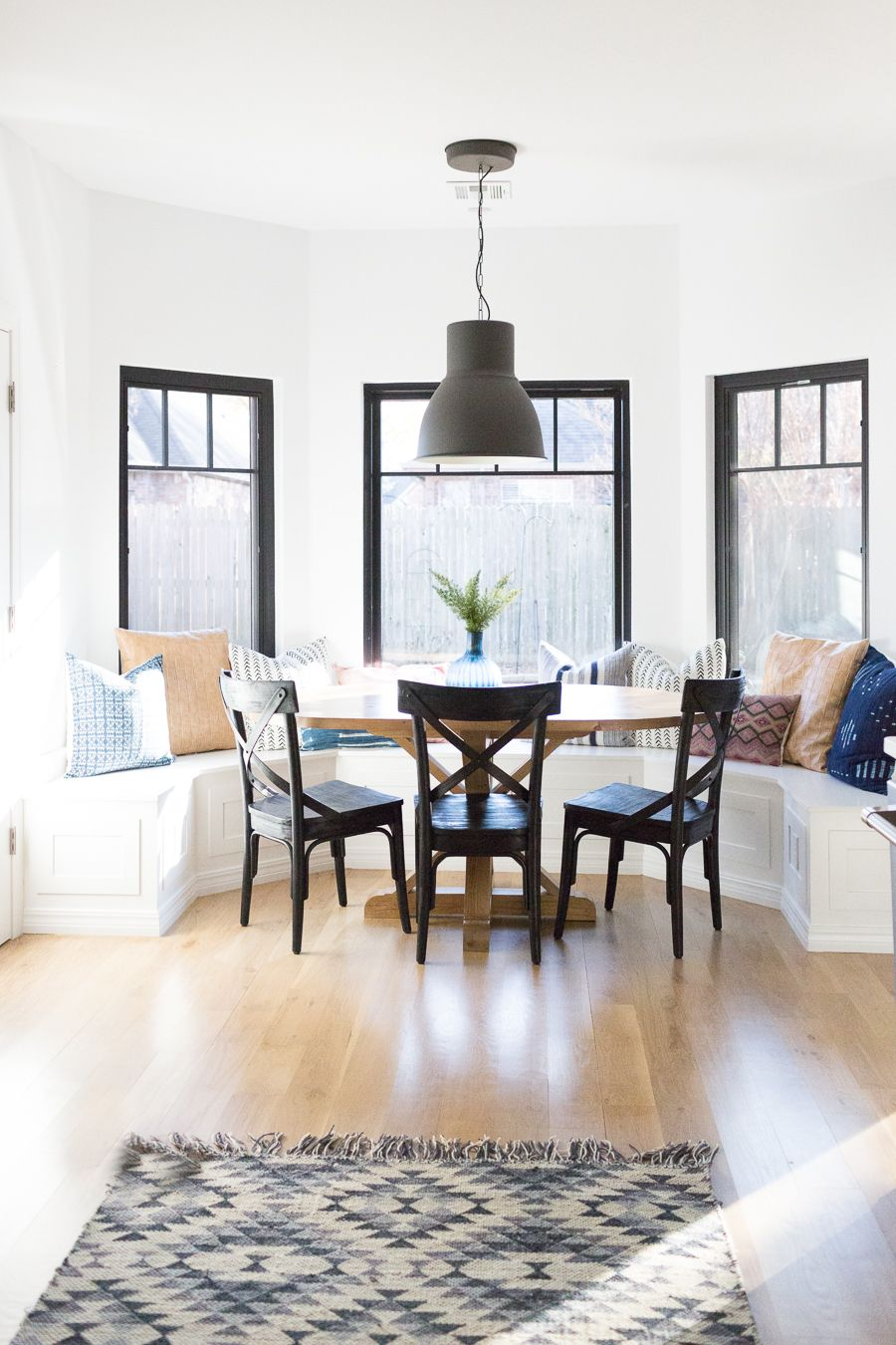 Tulsa remodel reveal modern white farmhouse black pendant light