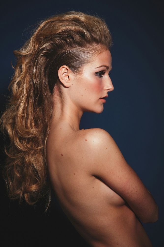 model with long hair mohawk