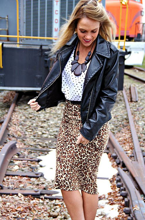 polka dots and leopard skirt