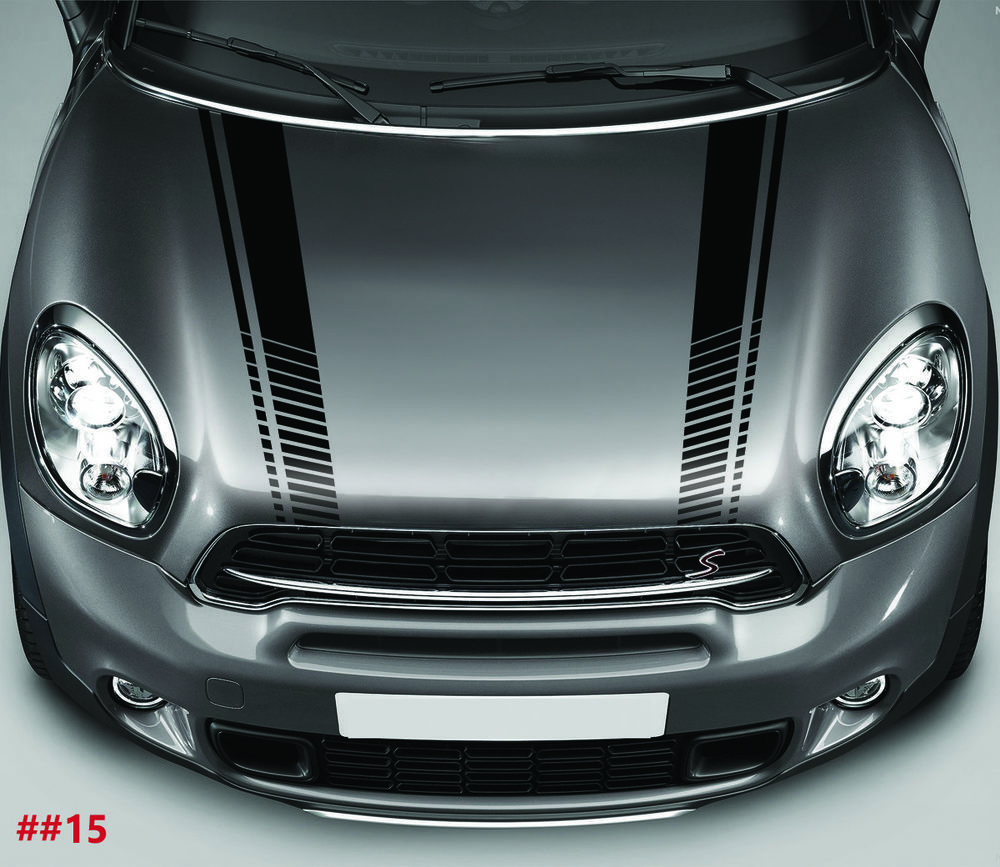 Mini cooper bonnet stripes car stickers decal car graphics vinyl