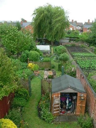 long thin garden divided up; swap the shed to the other side and ...