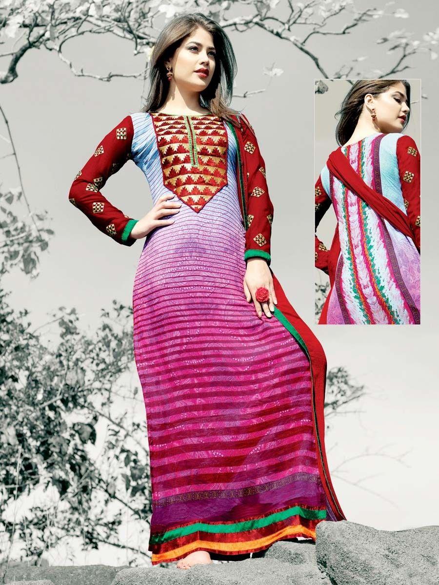 Conclusive printed faux #Georgette #Kurta in pink, blue color with resham, zari work. Item Code : SLBH7959 http://www.bharatplaza.com/new-arrivals/salwar-kameez.html
