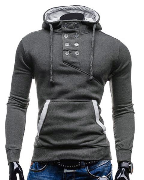 Double Breasted Pocket Hemming Slimming Hooded Long Sleeve Modish Cotton Blend Hoodie For Men