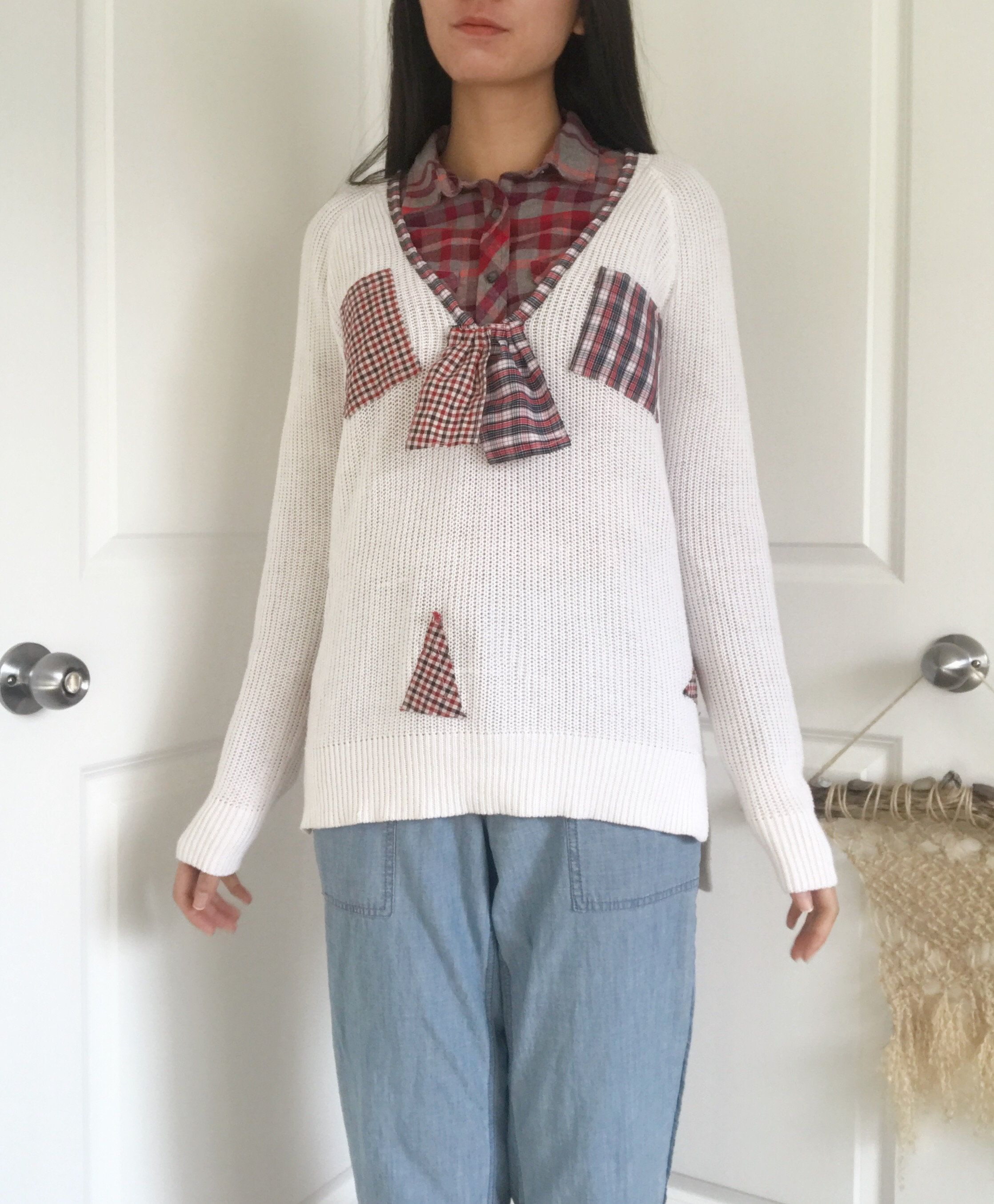 Repaired Sweater With Patch Pockets, VNeck Upcycled