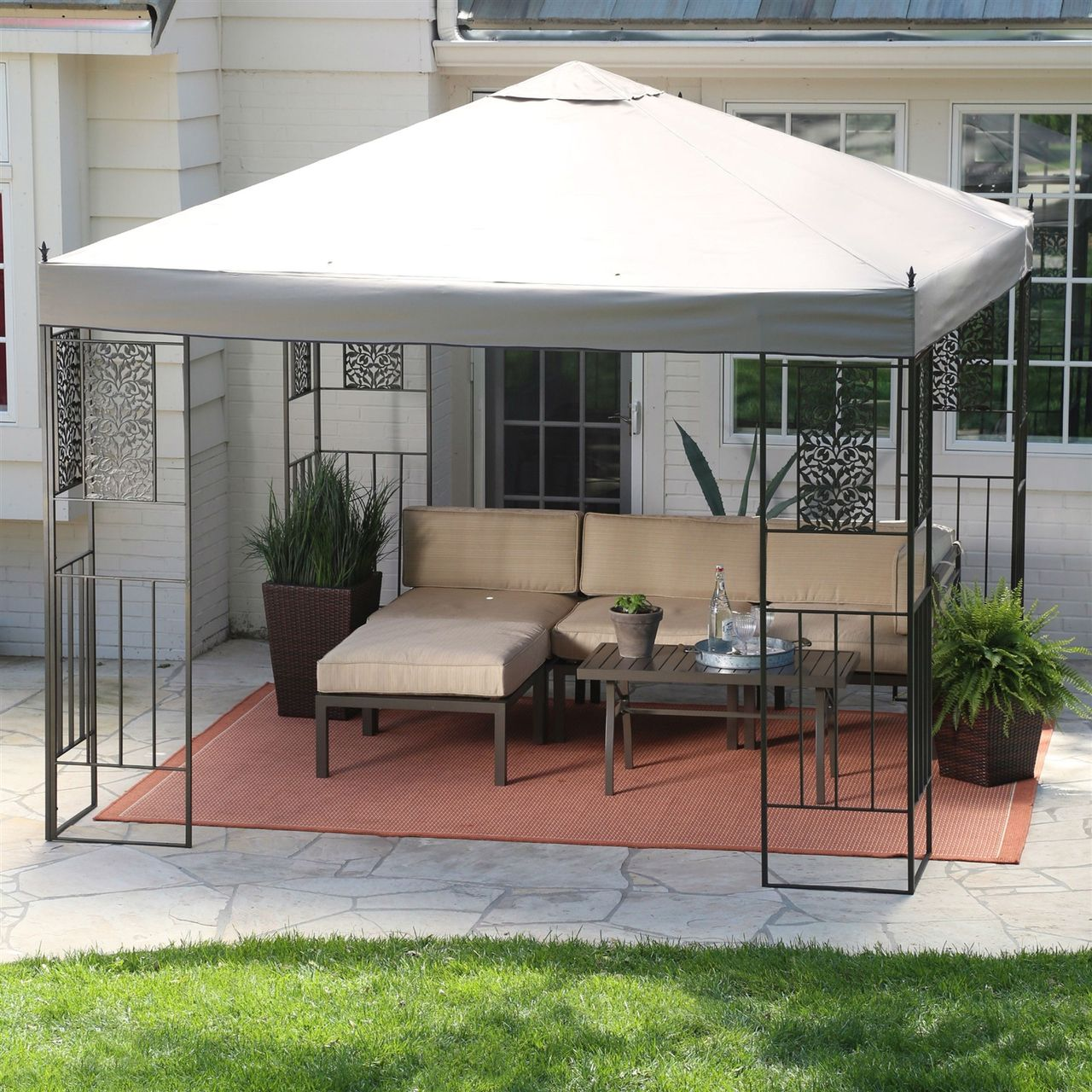 10 Ft X 10 Ft Backyard Patio Garden Gazebo With Steel Frame And Vented Canopy Outdoor Pergola Backyard Gazebo Backyard Patio