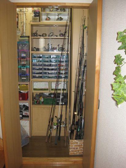 釣り具 タックル の整理 釣具 収納 釣竿 収納 アウトドアインテリア