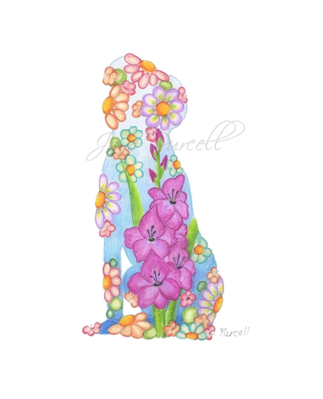 Children's Art Print 8 x 10 Glad Dog Silhouette Nursery Art Child's Room Girls Room Children Floral Art. $18.00, via Etsy.