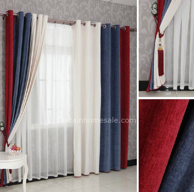 Beautiful Boys Bedroom Curtains In Red Blue And White Combined Colors For Eco Friendly
