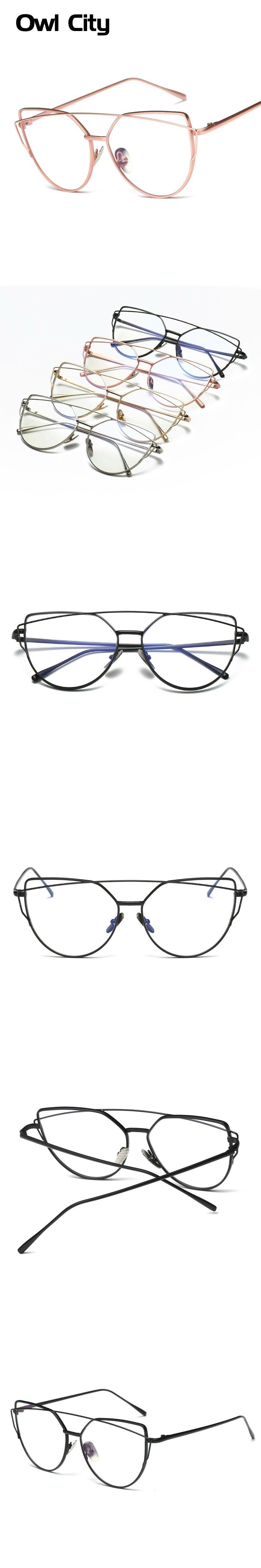 7db1ab32c24 Newest Women Eyeglasses Brand Designer Cat eye Rose Alloy Frame Anti-blue  ray Optical Clear