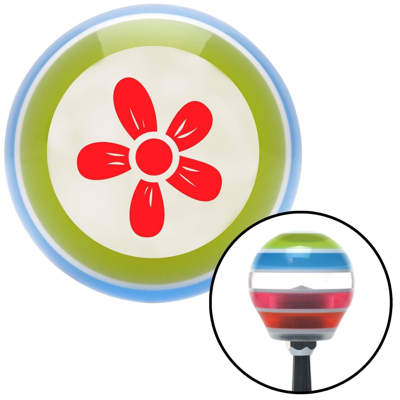 Red Hawaiian Flower 2 Stripe Shift Knob with M16 x 15 Insert
