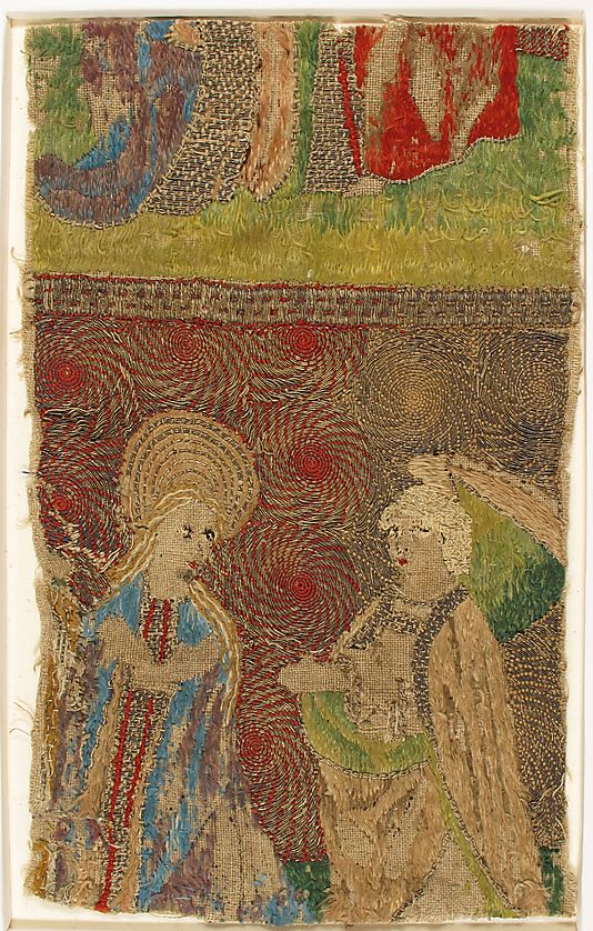 Panel with the Virgin and Gabriel Annunciate Date:15th century Made in Cologne, Germany. Silk on linen (?) Detail