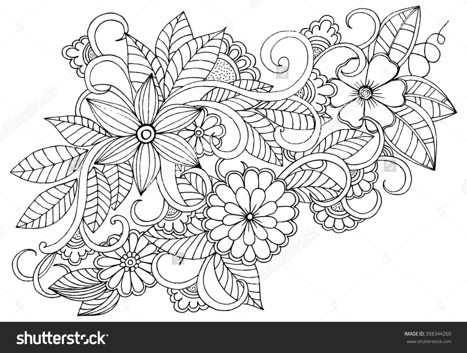 Doodle Floral Pattern In Black And White Page For Coloring Book