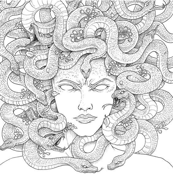 Pin By Emily Stevens On Youth Group Coloring Pages Coloring Books Medusa Art