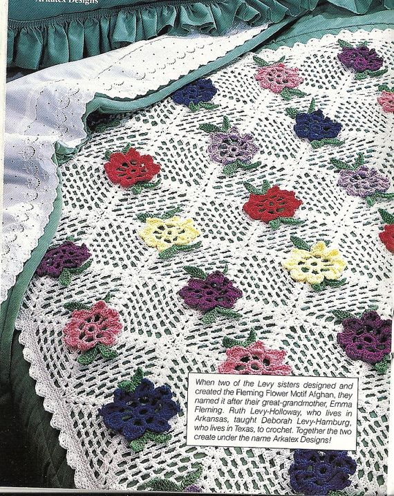 Fleming Flower Afghan Crochet Pattern Vintage Throw Blanket Home