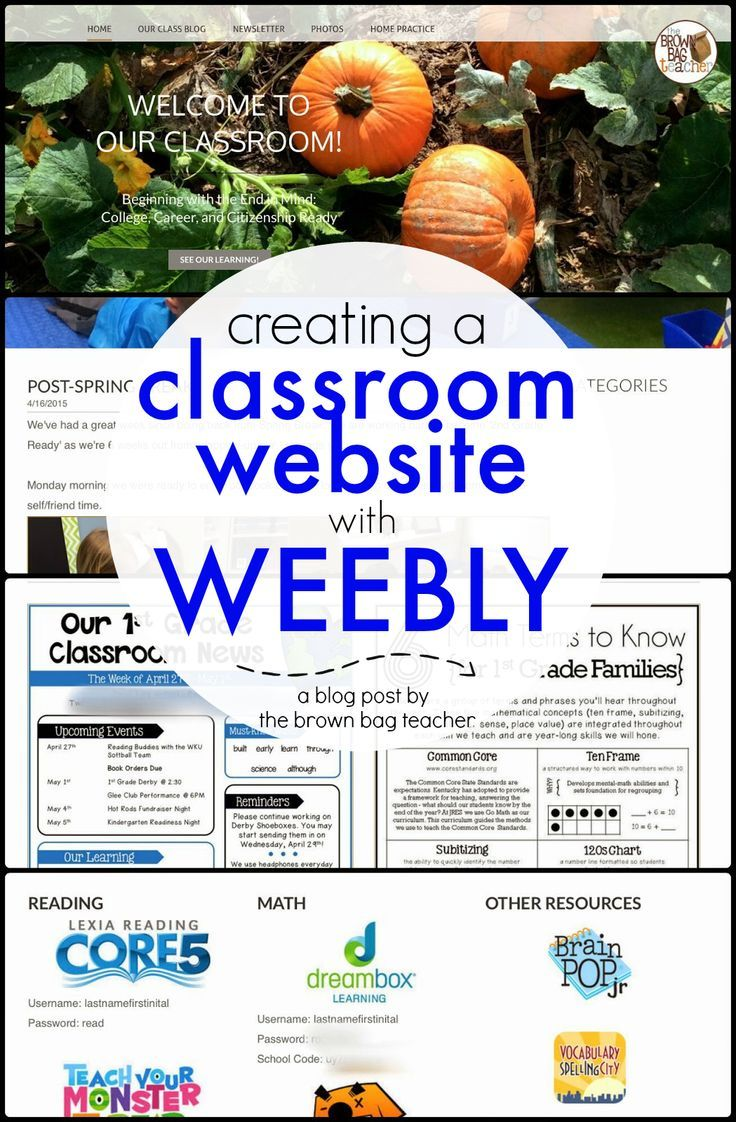 Creating A Classroom Website Using Weebly Teacher Parents And Website