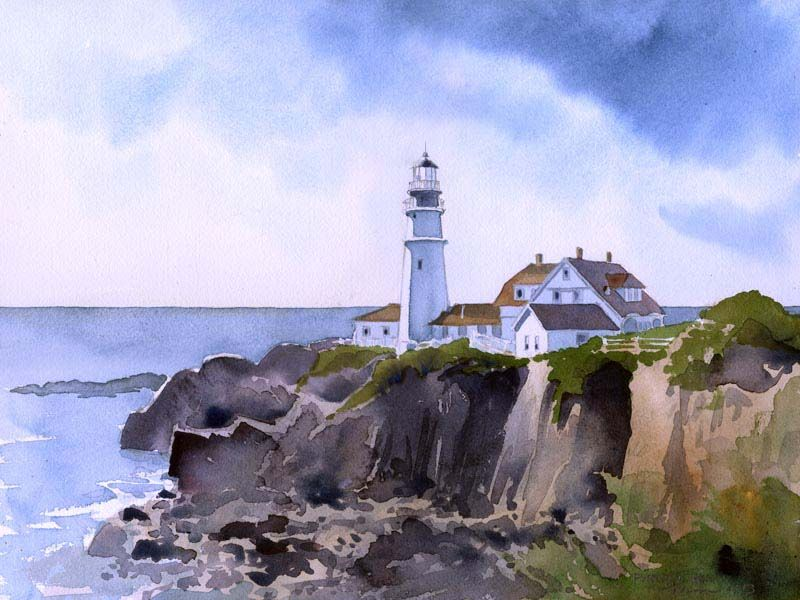 Portland Head Lighthouse James Mann Watercolor Lighthouse Art