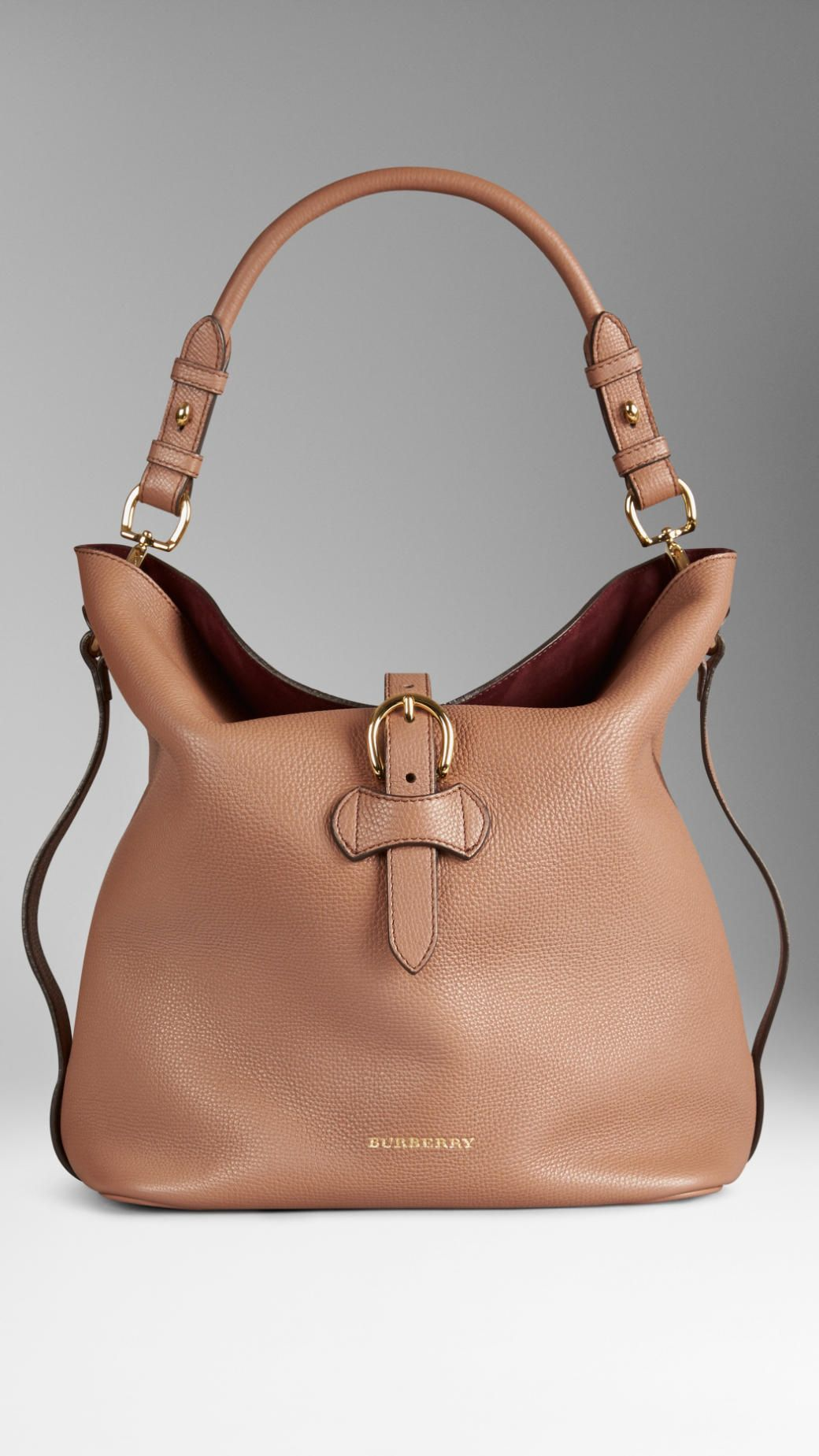 b72ce56c3aa Burberry ~ Medium Buckle Detail Leather Hobo Bag, Dark Sand Hobo Handbags,  Hobo Bags