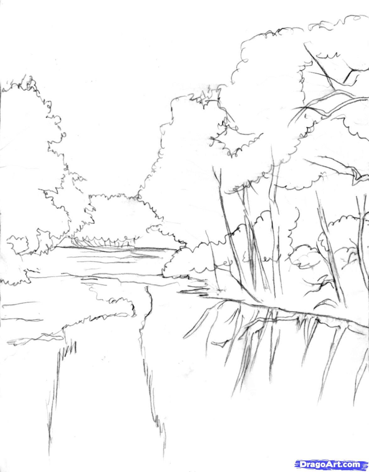 How to draw a realistic river step1 step 8 and shade it too learn