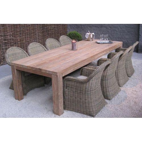 table rectangulaire en vieux teck massif, idéale pour rester au