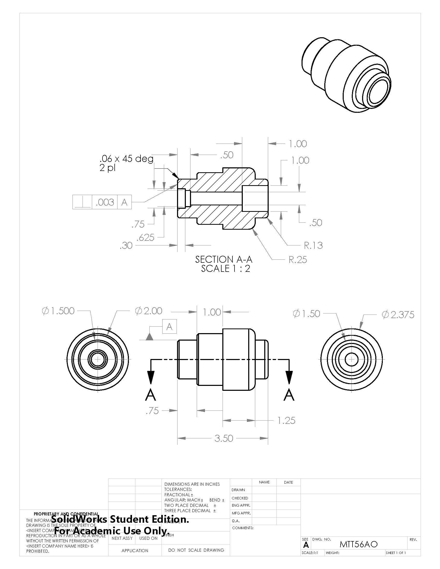 MTT56AO Mechanical design, Solidworks, Technical drawing