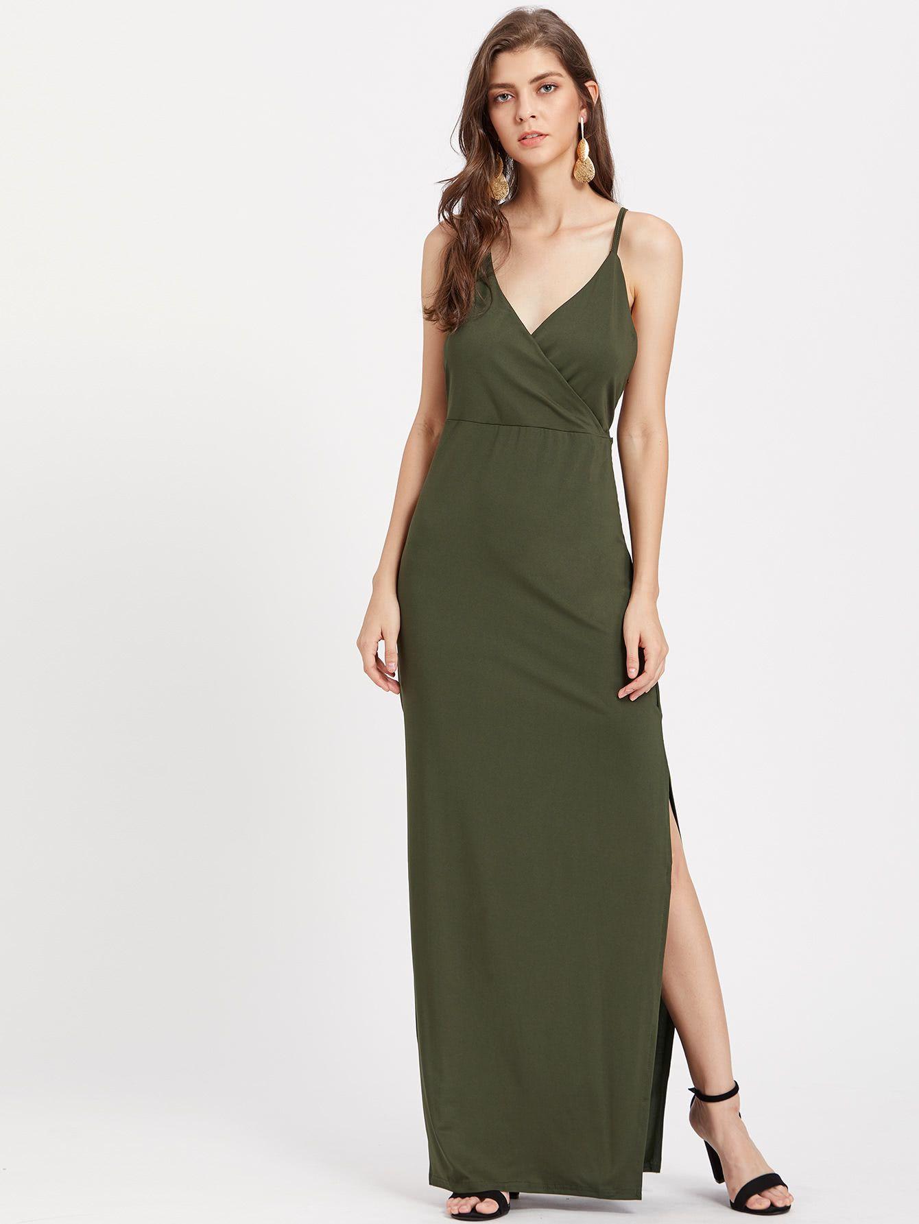ef82468efe SheIn Surplice Neckline Slit Side Cami Dress | The Style Perk ...