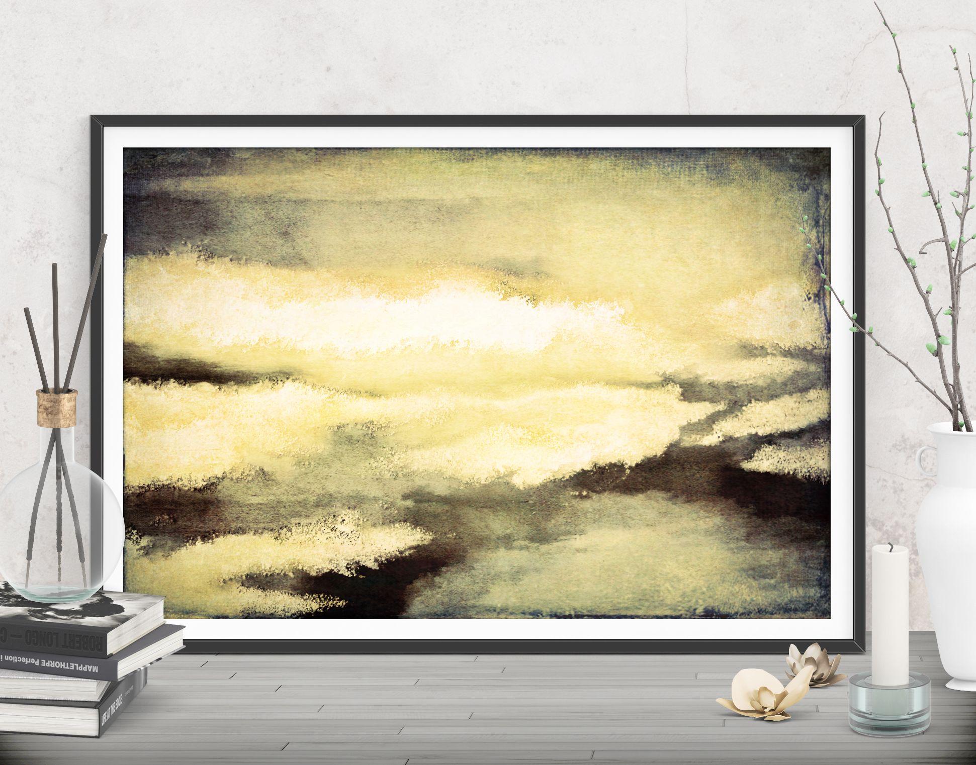 Large yellow print, Printable wall decor, Abstracts home decor gift ...