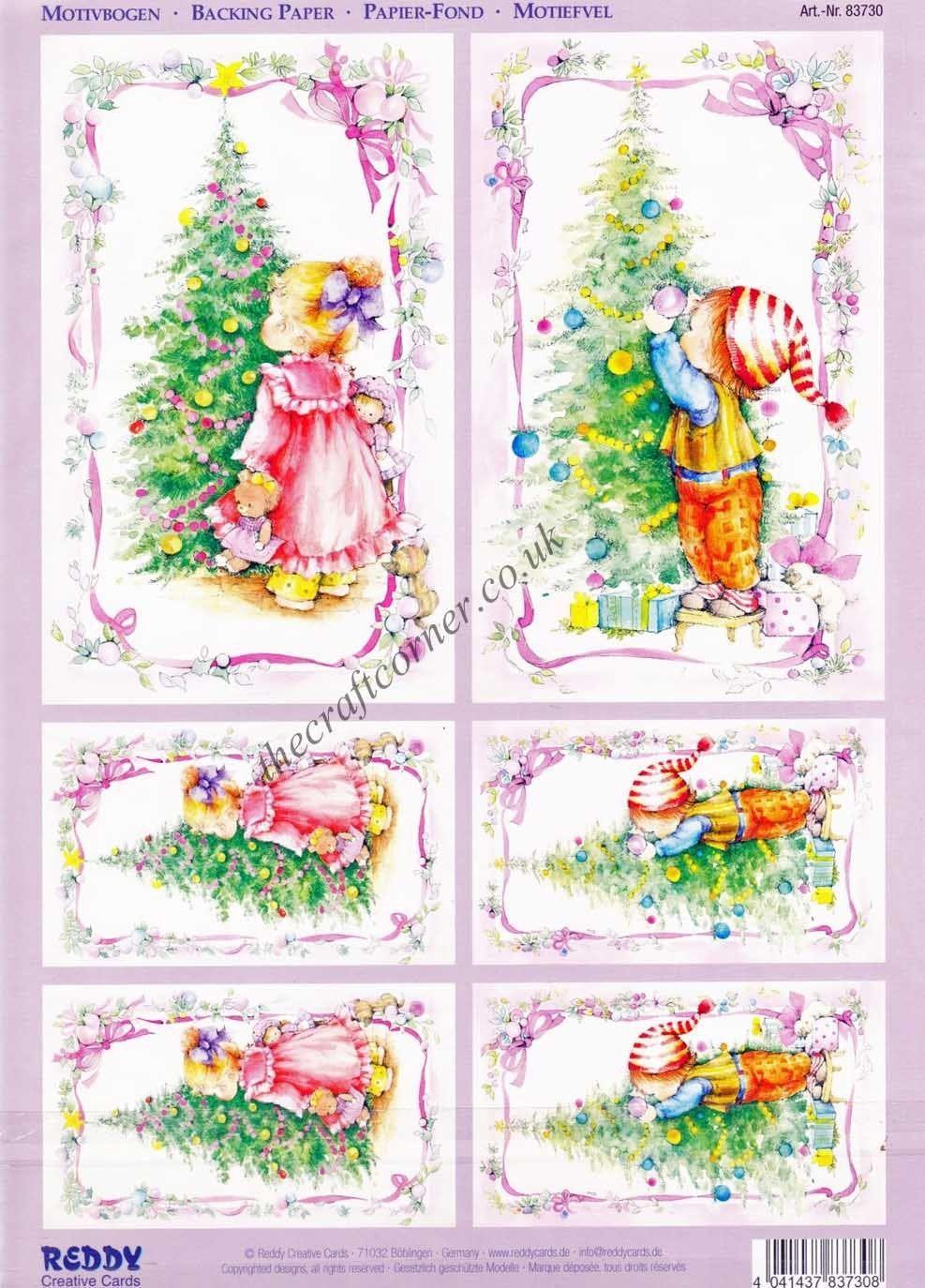 Christmas Tree 2 Sheets Die Cut 3D Decoupage Sheet Card Making NO CUTTING REQ • EUR 3,16 - PicClick FR