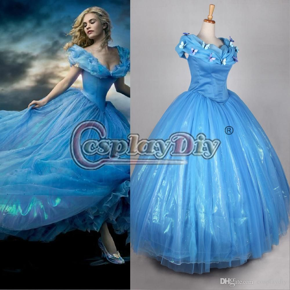 2015 newest movie Cinderella princess dresses blue Deluxe wedding ...