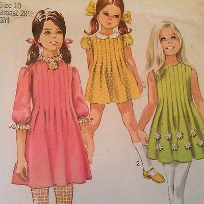 vtg 1960s sewing pattern girls dress tucks size 10 vtg