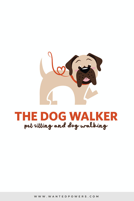 Fun Mastiff Dog Walking Logo Custom Pre Made Logo Design Pet