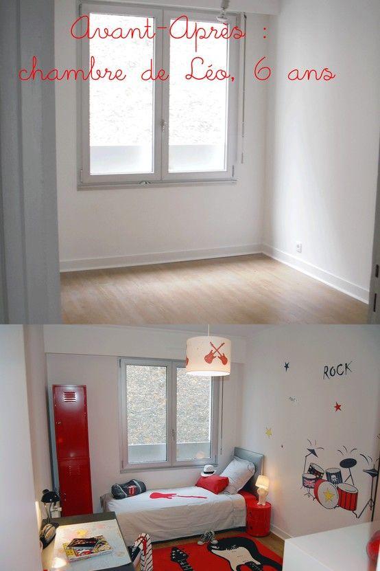 chambre petit garçon, chambre rouge, chambre enfant, chambre Léo ...
