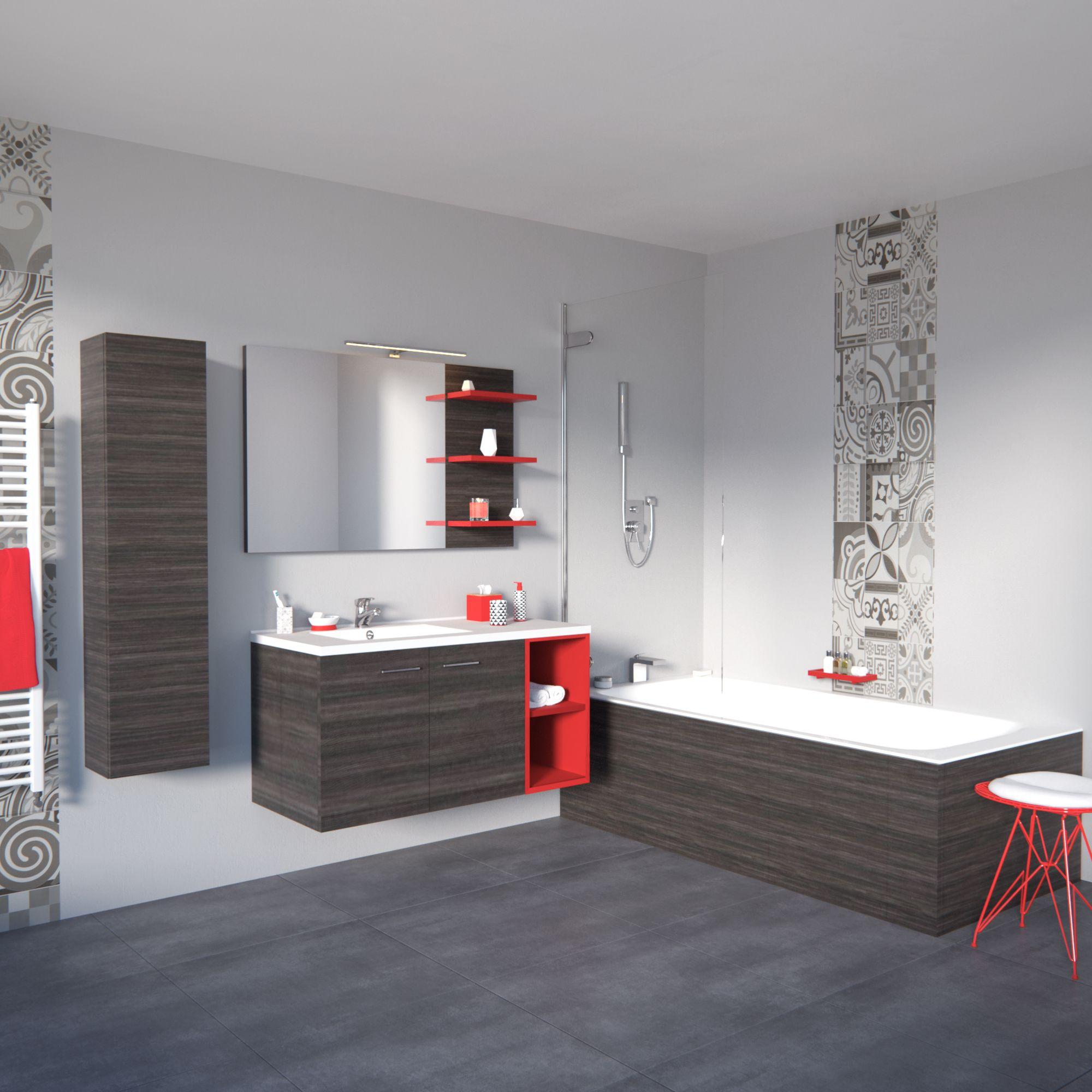 Meuble salle de bain portes, bois et rouge, salle de bain ...