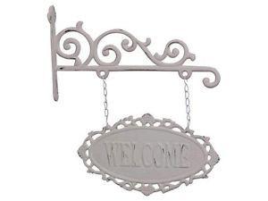 Chic Antique Schild Welcome  Metall Shabby Chic Romantik Landhausstil Weiß   eBay