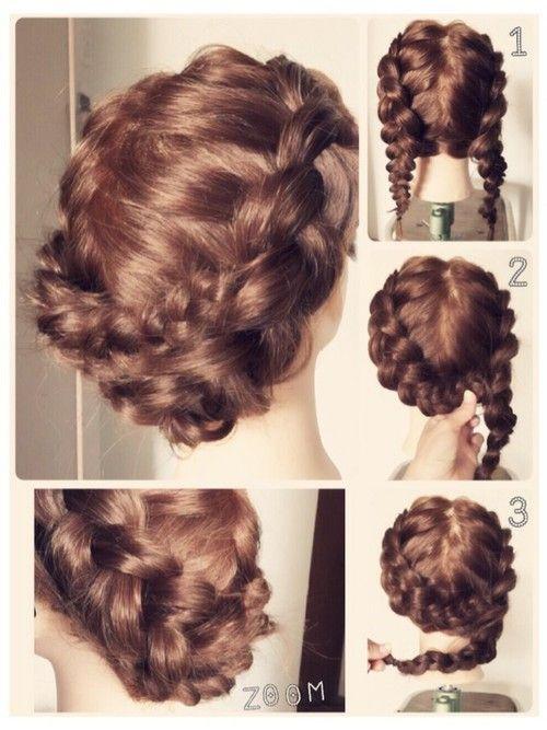 編み込み三つ編みのまとめ髪 簡単 使えるヘアアレンジ アップ