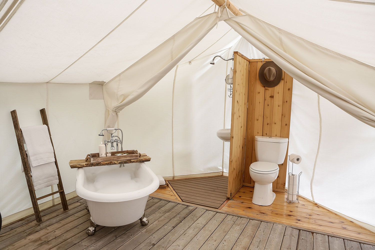 Glamping in the grand canyon rue camping pinterest for Yurt bathroom designs
