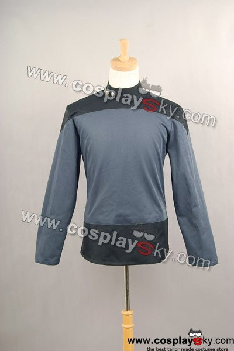 Star Trek TNG The Next Generation Picard Grey Gray shirt costume,Zip on both side and upper back of the costume, which makes it easy to put on.Tailor made costume.